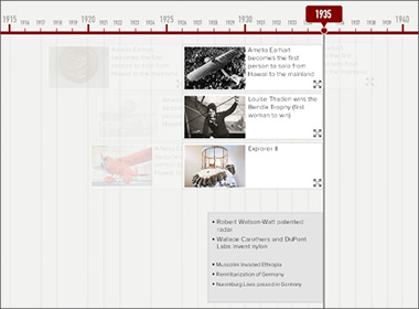 Screen capture of a timeline